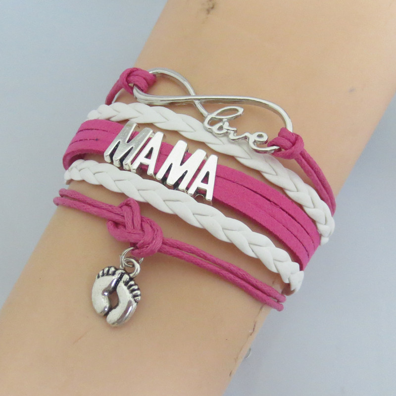 Infinity Love Mom Bracelets Fashion Grandma Charm Mama Bangle Blue Wax White Leather Customise In From Jewelry