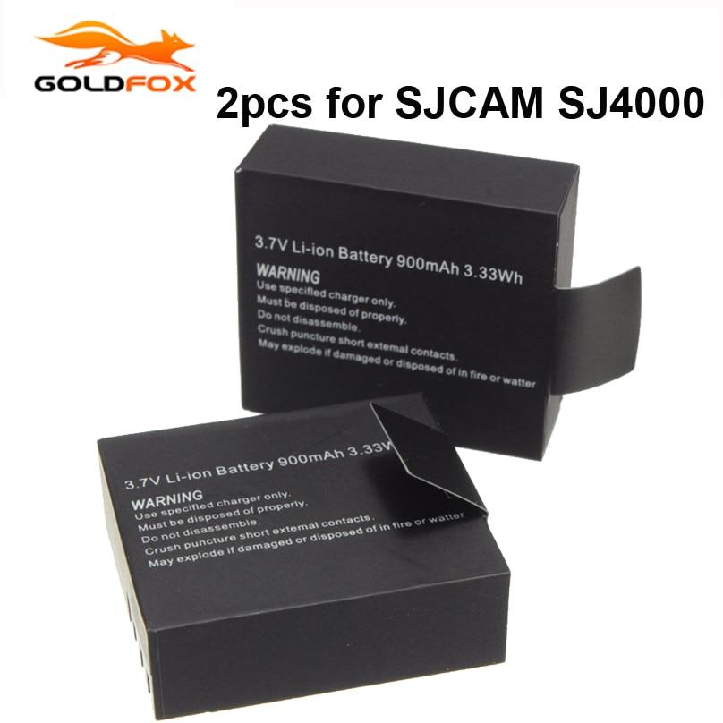 2 pcs/ensemble 900 mAh Batterie De Rechange pour SJCAM SJ4000 Wifi SJ5000 wifi M10 D'action Caméra pour SJCAM GOLDFOX Sport Caméra DV Accessoires