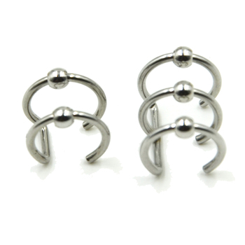 Stainless Steel Double and Triple Hoop Ear Cuff Clip On Earring 4