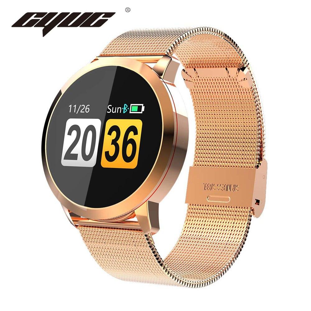 CYUC Q8 Smart Montre OLED Écran Couleur hommes De Mode Fitness Tracker Coeur Taux de Tension Artérielle D'oxygène Smartwatch