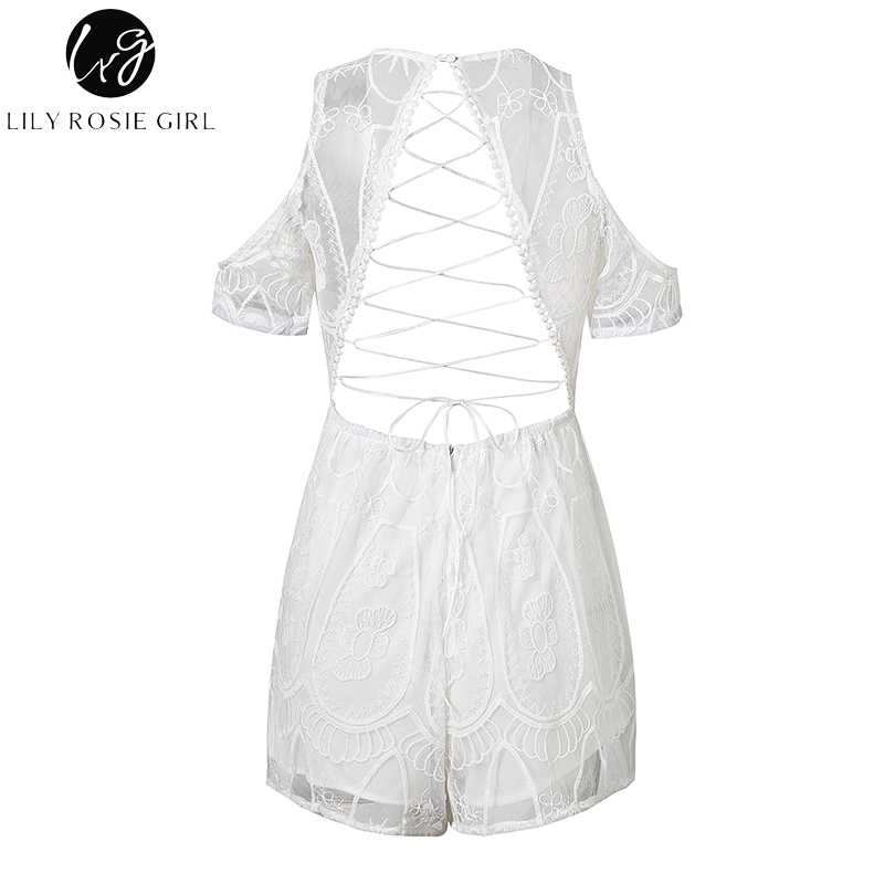 1c463e03465 ... Lily Rosie Girl Sexy Backless Hollow Women White Lace Playsuit Deep VNeck  Off shoulder Short Jumpsuit
