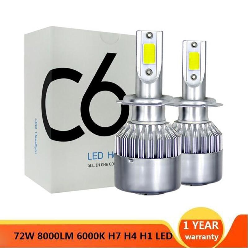 2pcs Arrivals No Error Canbus LED Car Lights Bulbs H4 H7 H11 H1 H3 H8 H9 880 9005 9006 H13 9004 9007 Auto Headlights 12V Light