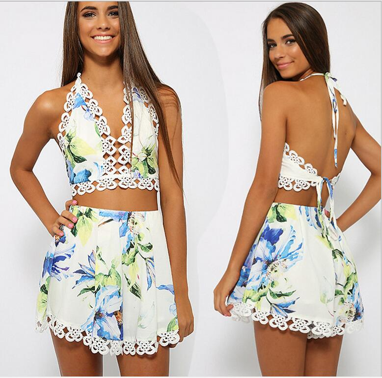 Fashion Women Elegant Floral Print Backless Sexy Club Wear Jumpsuits V neck Spaghetti Strap Plus Size Casual Slim Rompers