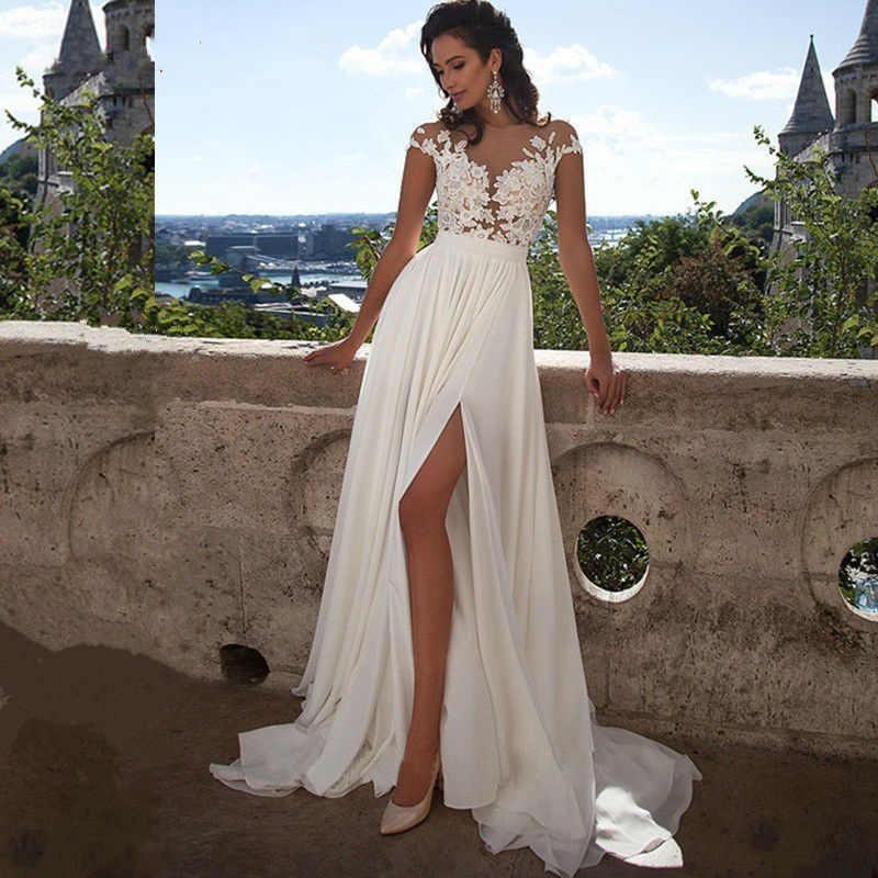 e9c3992420 Vestiods Vintage Chiffon Lace Beach Wedding Gowns 2019 Summer White Sheer  Split Boho Princess Bridal Dress