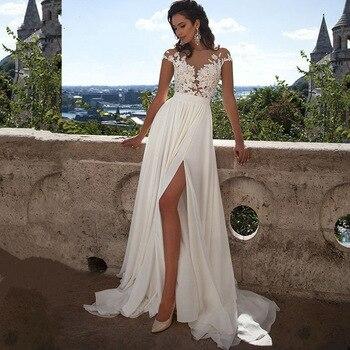 Vestiods Vintage Sheer Dividir Chiffon Lace Praia Vestidos de Casamento 2019 Branco Verão Boho Princesa Vestido Nupcial Robe De Mariage