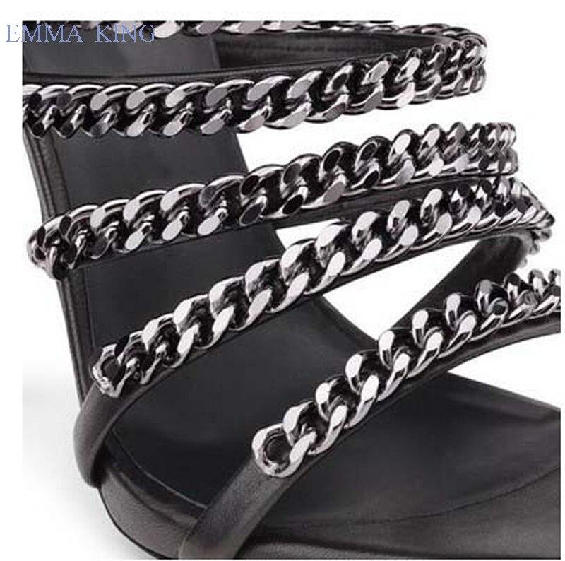 Hauts Stiletto Sandales D'été 43 outs Mode Soirée Sexy Noir Eu35 2019 Chaussures De Taille Femmes Cut Chaîne Talons Métal Conception Pzqnx