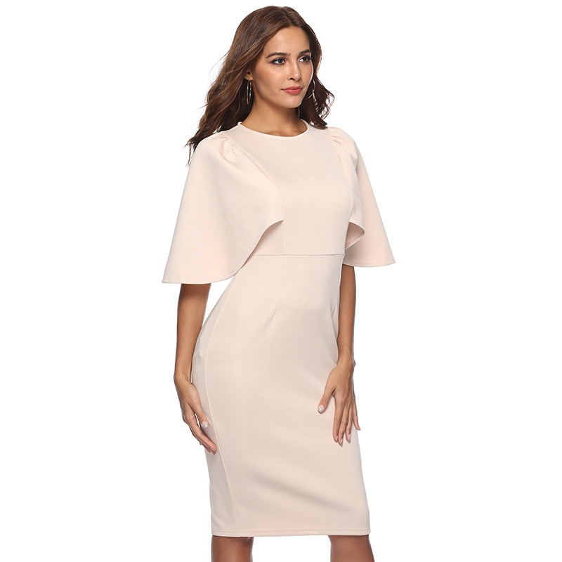 Women Elegant Ruffle Sleeve Ruched Pinup Vestidos Party Wear To Work Fitted Stretch Slim Wiggle Pencil Sheath Bodycon Dress Suit 14