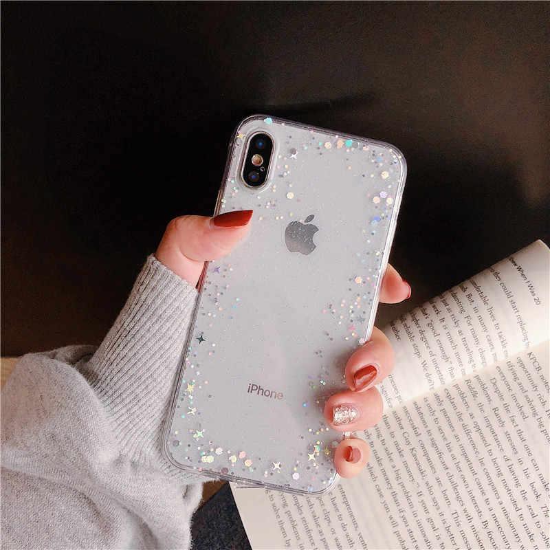 Простой Прозрачный Star с сияющими блестками чехол-накладка для телефона чехол для iPhone 6, 6 S, 7, 8plus X Xr Xs Max чехол для телефона из мягкого ТПУ с рисунком крышка, силиконовый чехол