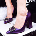 2016 Sexy Thick Heels Pumps For Women Brand Designer Spring Rhinestone Buckle Toe Fashion Party Dress Women Pump Shoes