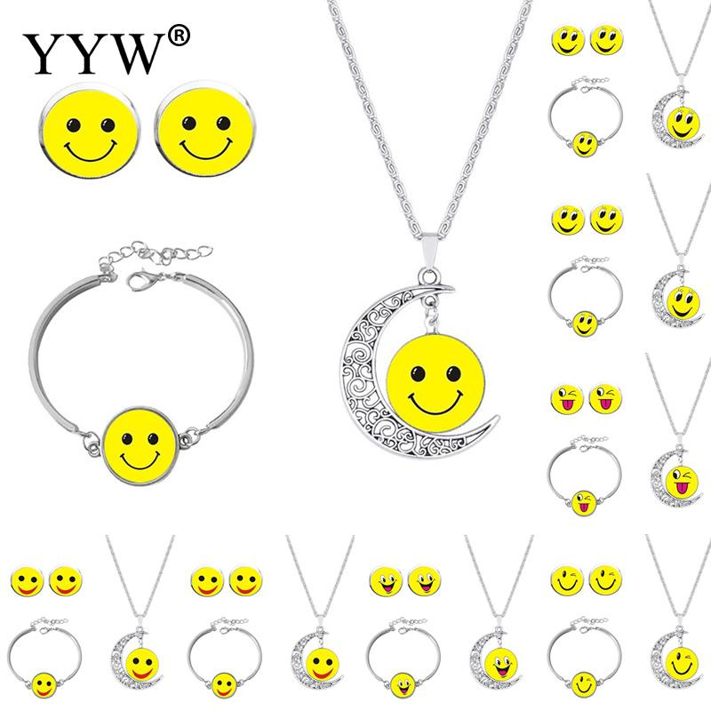 Three Piece Set Smile Face Moon Earring Bracelet Necklace Gem Jewelry Expression Set