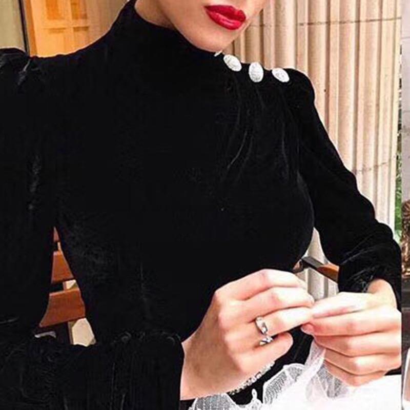 Velours Robes Longues Bouton Épissage Robe Manches Haute Forage Femmes Feuille Mince De Taille Getsring Vintage Black Rétro Lotus 5wCnXp7Ixq