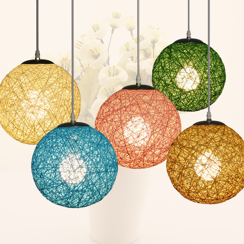 Multi color Fashion Modern Manual knitted Hemp String Pendant Light LED  Ceiling Lamp Indoor Home Decoration Lighting Fixtures-in Pendant Lights  from Lights ...