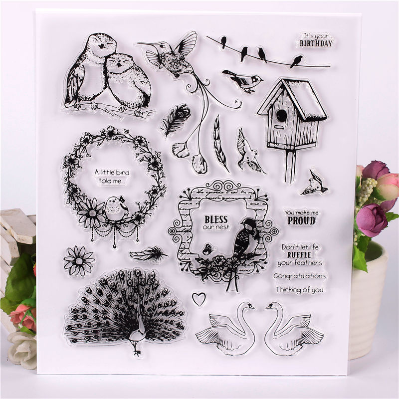 Rubber Silicone Clear Stamps for Scrapbooking Tampons Transparents Seal Background Stamp Card Making Diy Bird Text Stempel цена и фото