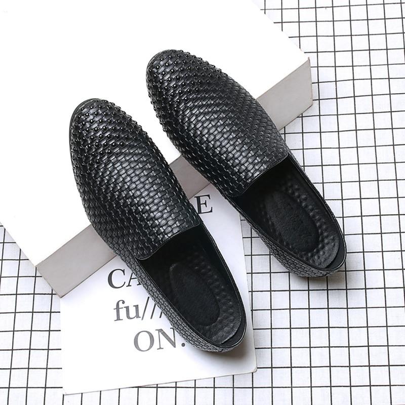 Sapatos Condução Homem Rebites Toe Mocassins 2018 Loafers Moda Marca Flats Black Casuais Suave De Homens Nova Couro P1vxzq
