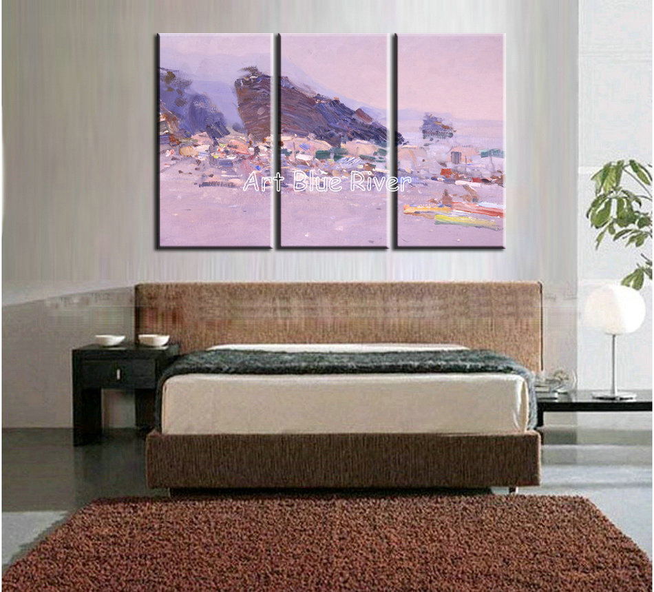 3 piece muti panel abstract modern canvas wall art handmade drawing pink font b Knife b