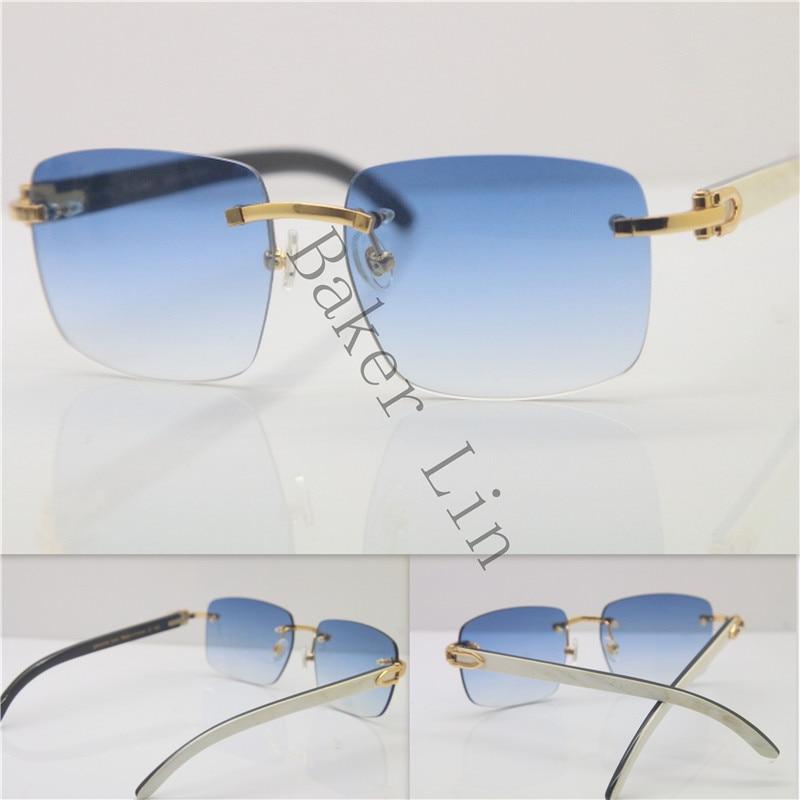 Hot Brand Designer 18K Gold Rimless Unisex Sunglasses 8300816 Black Mix White Buffalo Horn Sun Glasses Gold Blue Limited edition