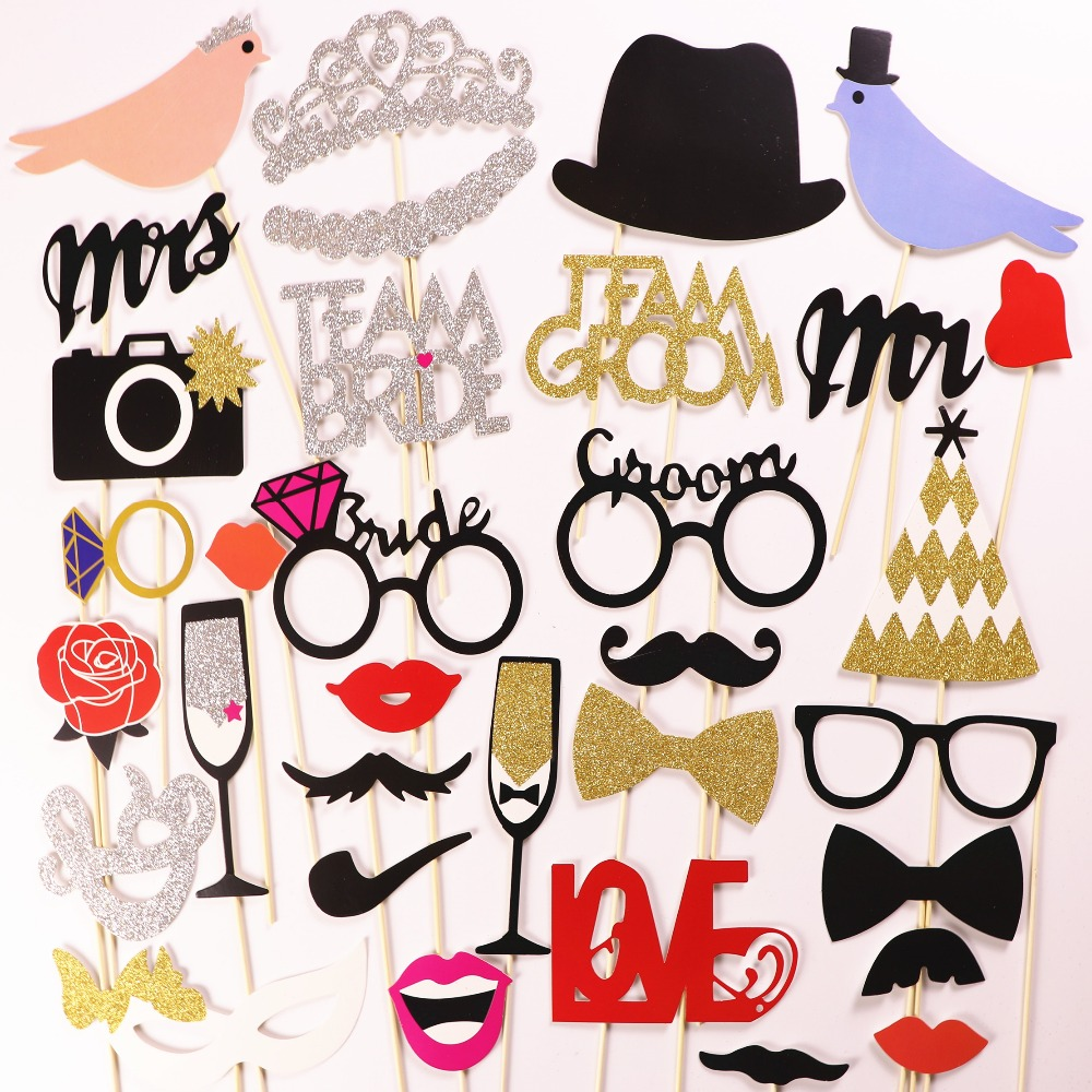 Photo Booth MrMrs Just Married 2017New Fashion Bling Love