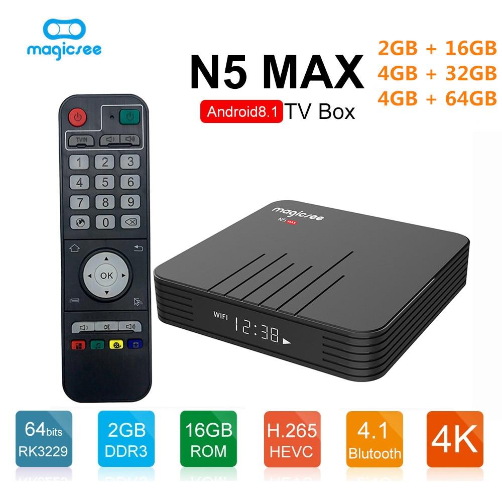 MAGICSEE N5 Max TV Box Android 8 1 Amlogic S905X2 2GB 4GB 32GB/64GB ROM Set  Top Box 2 4GHz+5GHz Wifi BT4 1 4K Smart Media Player - TARIFIKLAN COM