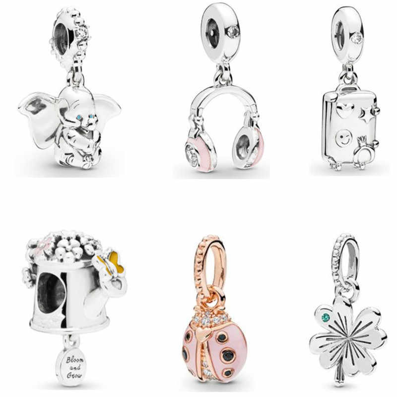 Fit Pandora Bracelet Bead Original DIY Charms Spring 2019 New Dumbo Pink LADYBIRD Luggage Headphones Elephant Necklace Pendant