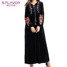 S.FLAVOR Autumn Winter Women Long Sleeve Lace Up Collar Velvet Dress Flower Embroidery Maxi Long Dress Warm Black Velvet dress