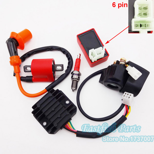 ignition coil & 6 pin ac cdi & d8tc spark plug & solenoid ... 6 pin cdi wiring diagram ac 6 pin cdi wire diagram