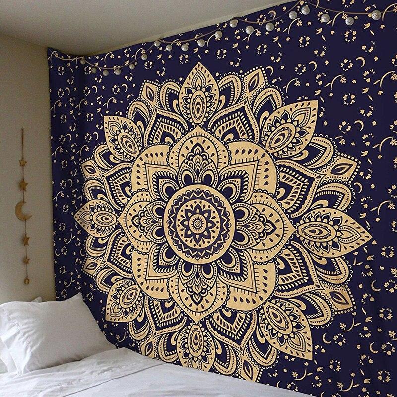 2018 Mandala Polyester 150*150 CM Platz Tapisserie Wandbehang Teppich Werfen Yoga Matte für Zu Hause Schlafzimmer Dekoration