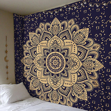 2018 Mandala Polyester 150*150 CM Square Tapestry Wall Hanging Carpet Throw Yoga Mat for Home Bedroom Decoration (China)