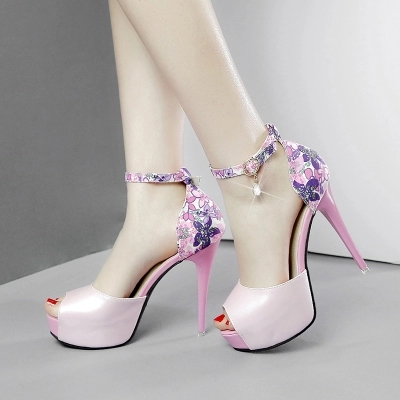 2019 New Women's High-heeled Shoes With A Word Buckle Waterproof Platform Small Fresh Girl Princess Fish Mouth Shoes-1