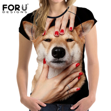 FORUDESIGNS Funny 3D Shiba Dog T Shirt Woman Basic T-shirts Summer Casual Woman Tops Short Sleeved Shirts Feminine Clothes 2017