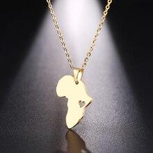 DOTIFI ожерелье из нержавеющей стали для женщин и мужчин, Африканская Карта золотистого и серебристого цвета, ожерелье с кулоном, ювелирные изделия для помолвки