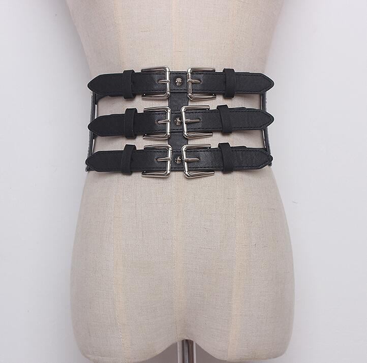 Women's Runway Fashion Elastic Pu Leather Cummerbunds Female Dress Corsets Waistband Belts Decoration Wide Belt R1646