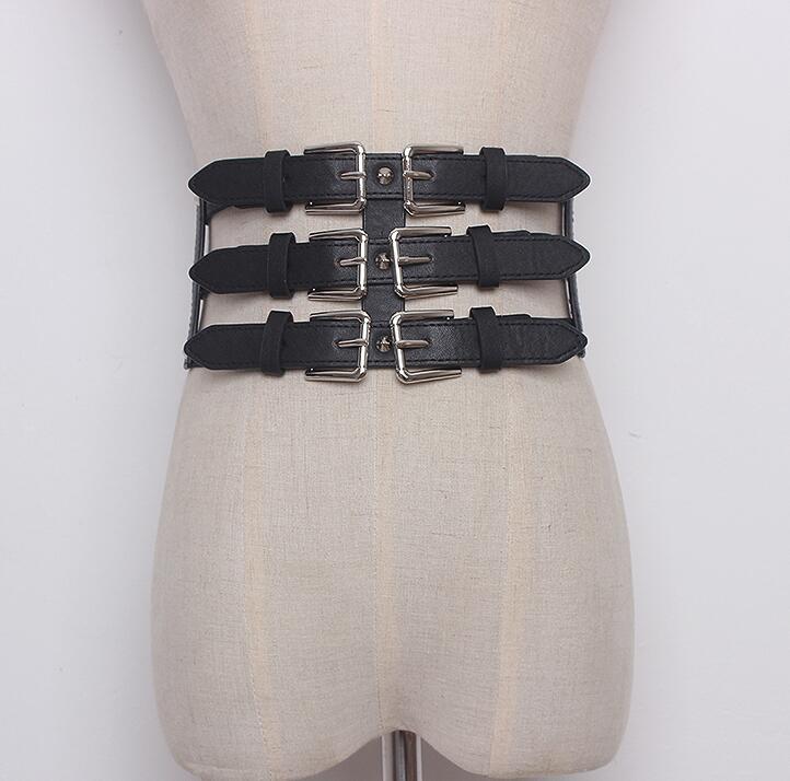Women's Runway Fashion Elastic Pu Leather Cummerbunds Female Dress Corsets Waistband Belts Decoration Wide Belt R1646
