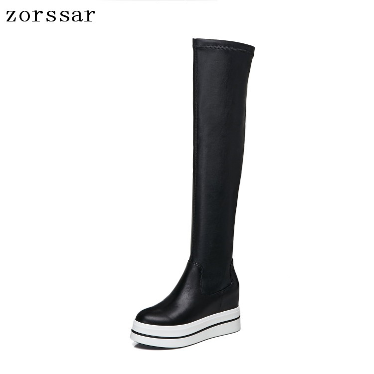 c8343dd03 Plataforma Encima  zorssar  Rodilla La Nueva Por 2019 Las De Tacón Alto  Invierno Mujer Moda Zapatos Cuero ...