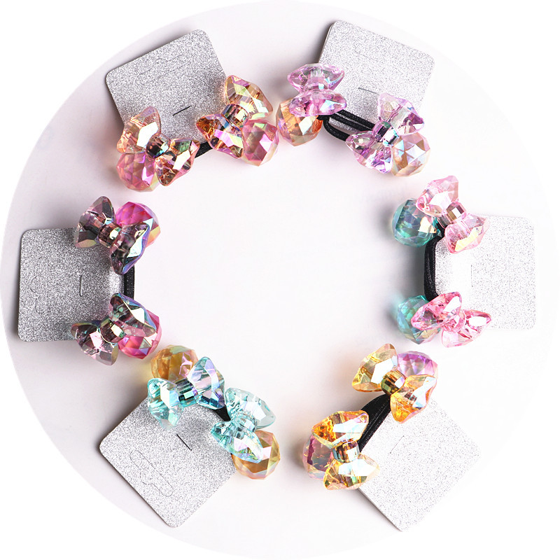 Image 2 - 2018 New 20pcs/lot Children Hair Accessaries acrylic bowknot Blasting beads Balls Hair Bands Elastic Ropes Ties Ponytail HolderHair Accessories   -
