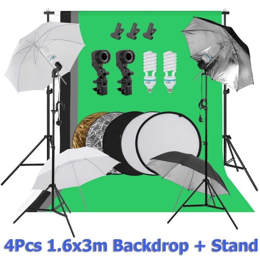 Compact Photographie Toile de Fond Support Système Fond Écran de Stand Universel Porte-Parapluie Éclairage Kit UK Plug