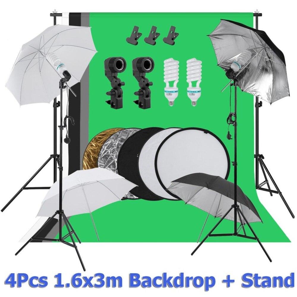 Compatto Fotografia Sfondo Sistema di Supporto Sfondo Del Basamento Universale Del Supporto Dello Schermo Ombrello Kit di Illuminazione Spina UK