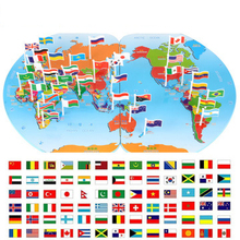 Wooden Map of the World national Plastic flag Stereo toy Child Puzzle early Learning toy