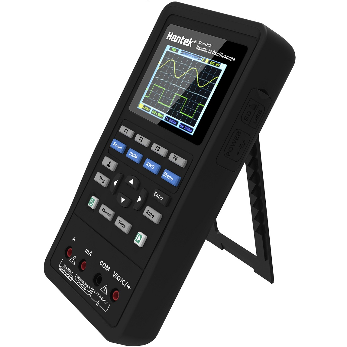 Hantek 3in1 Digitale Oscilloscopio + Generatore di Forme D'onda + Multimetro Portatile USB 2 Canali 40 mhz 70 mhz Display LCD di Prova strumenti metro