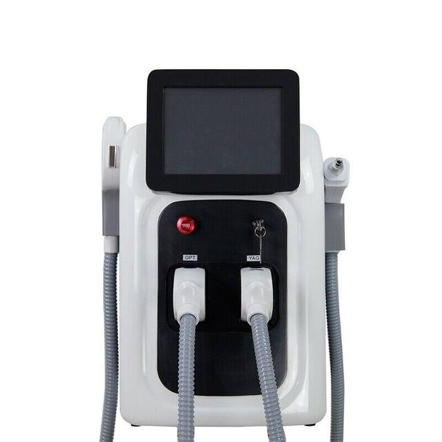 2 in 1 Professional OPT SHR IPL Fast Hair Removal Machine Nd Yag Laser Tattoo Removal Elight Skin Rejuvenation Machine