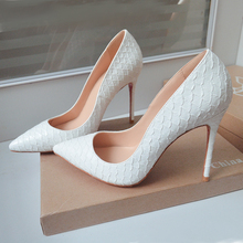 Sexy 뱀 첨 발가락 (High) 저 (힐 Pumps 흰 얕은 Women Office Dress Shoes 봄 가을 씬 힐 Shoes Free Shipping(China)