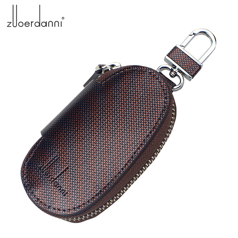 Men Genuine Cow Leather Bag Car Key Wallets Fashion Male Housekeeper Holders Carteira Keychain Zipper Key Case Pouch