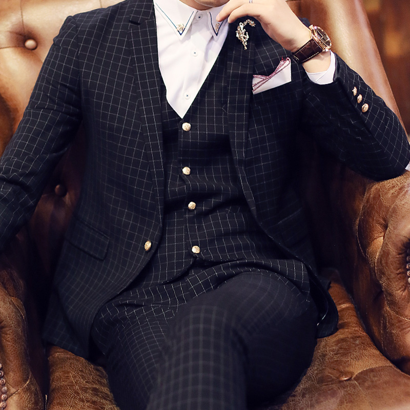 Здесь продается  Spring male suits slim fine plaid formal dress 3 piece set suit One Single Button Weeding Groom Suits slim Costume Homme Tuxedo  Одежда и аксессуары