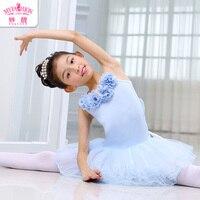 Ballet Children Dance Costume Short Sleeves Dress Girls Gymnastic Leotards Kids