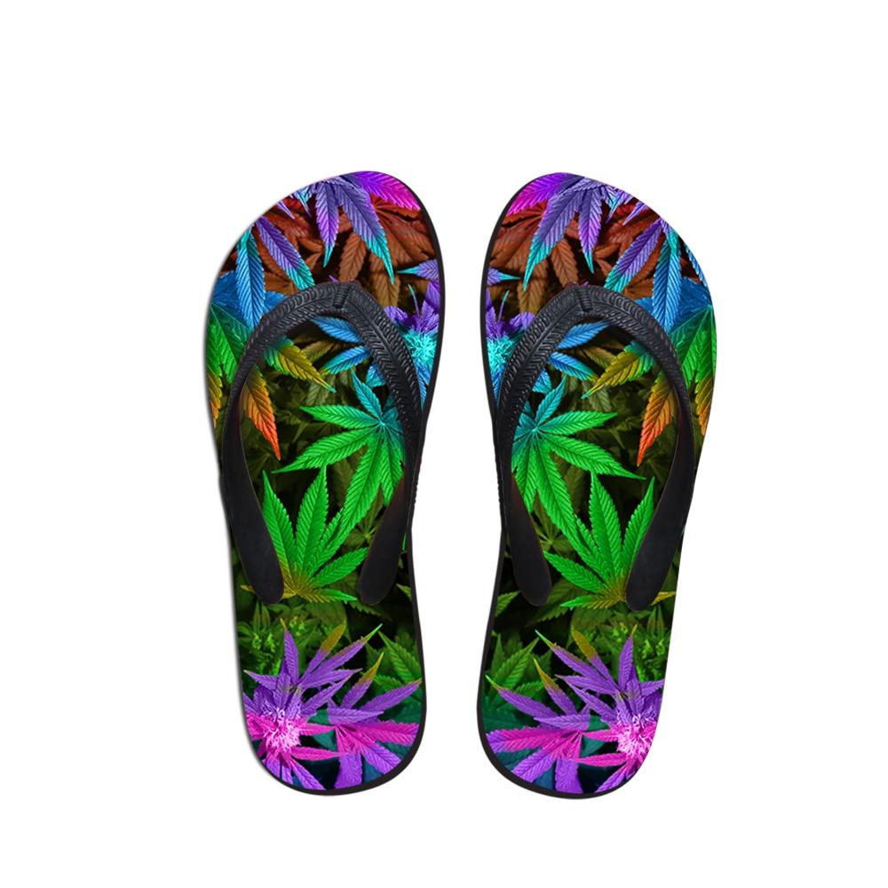 2019 Nuovo Stile Noisydesigns Donna Infradito Casual Estate Delle Donne Slip-on Pantofole Donna Fashion Colorful 3d Leaf Stampa Femminile Infradito Donna