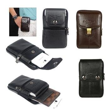 Para BV6800 pro cinturón bolsa para hombres Funda de cuero genuino funda de teléfono Vintage riñonera multifunción para Blackview BV6800 pro