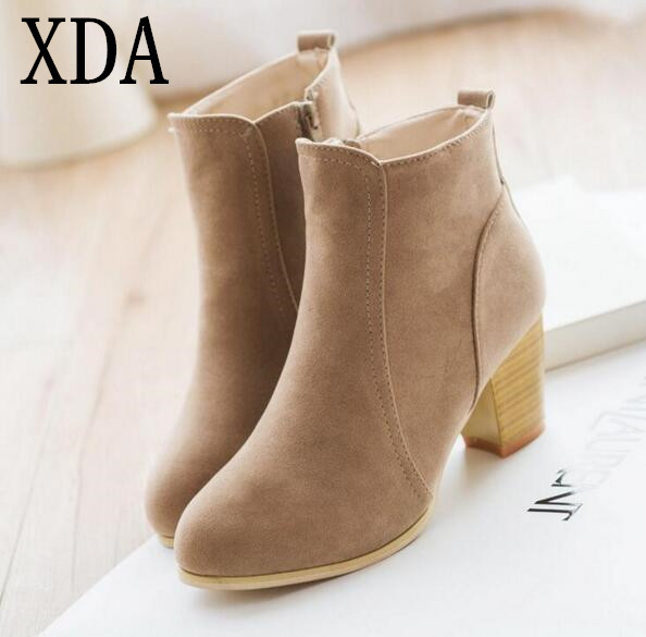 d965e65133808 XDA Autumn and winter short cylinder boots with high heels boots shoes  Martin boots women ankle boots with thick scrub