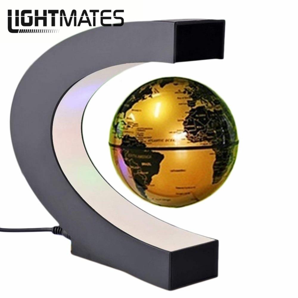 Novità C Forma LED Luce Mappa Del Mondo Globo di Levitazione Magnetica di Galleggiamento Antigravità Magia/Romanzo Lampada Di Compleanno Casa Dicembre Notte lampada