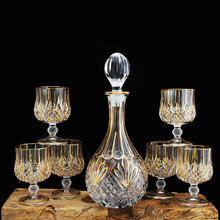 Luxury crystal wine Decanter and glass goblet 7-piece set home Whiskey Brandy glass cup golden rim red wine bottle decanter цена