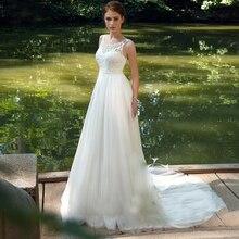 אונליין פשוט שמלות כלה 2020 החדש O צוואר מקיר לקיר אורך תחרת Applique Bow פרל חתונה שמלת תפור לפי מידה כלה שמלות