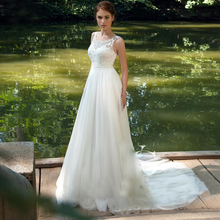 A Line Simple Wedding Dresses 2020 New O Neck Floor Length Lace Applique Bow Pearl Wedding Dress Custom Made Bridal Gowns
